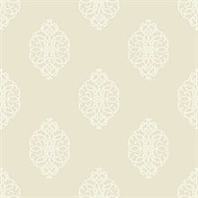 White & Beige Commercial Ironwork Medallion Wallpaper