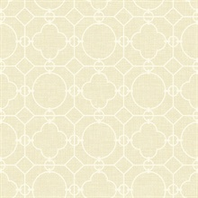 White & Beige Commercial Lattice Wallpaper