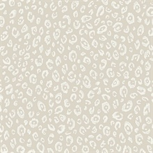 White & Beige Commercial Leopard Wallpaper