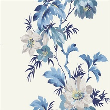 White & Blue Commercial Flower Stripe Wallpaper