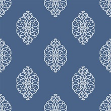 White & Blue Commercial Ironwork Medallion Wallpaper