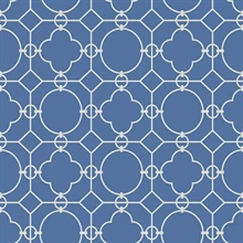White & Blue Commercial Lattice Wallpaper