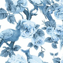 White & Blue Garden Plume Wallpaper