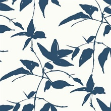 White Blue Persimmon Leaf Wallpaper