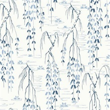 White & Blue Willow Branches Wallpaper