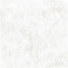 White Entablature Scroll Wallpaper