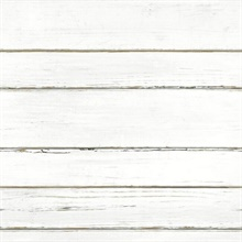 White Faux Wood Horizonal Shiplap Planks Wallpaper