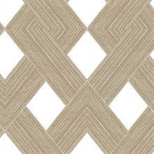 White & Gold Beveled Edge Geometric Wallpaper