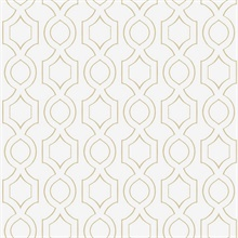 White & Gold Commercial Handdrawn Geometric Wallpaper