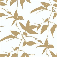 White & Gold Persimmon Leaf Wallpaper