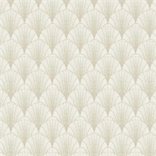 White & Gold Scalloped Pearls Wallpaper