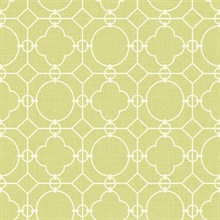 White & Green Commercial Lattice Wallpaper