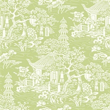 White & Green Commercial Oriental Scenic Wallpaper