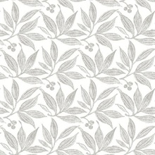 White & Grey Chokeberry Tree Block Print Wallpaper