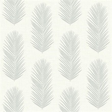 White & Grey Commercial Leaf Paperweave Wallpaper