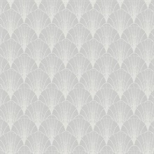 White & Grey Scalloped Pearls Wallpaper
