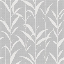 White & Grey Seagrass Leaves Wallpaper