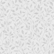 White & Grey Willow Leaf Wallpaper