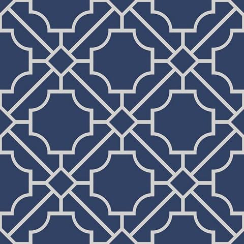 White Navy Blue Lattice Geometric Wallpaper