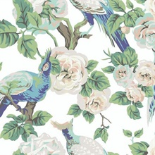 White & Royal Blue Garden Plume Wallpaper