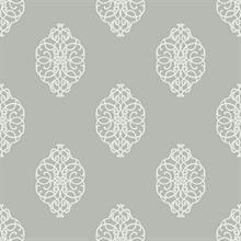 White & Silver Commercial Ironwork Medallion Wallpaper