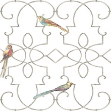 White & Silver Commercial Ironwork with Birds Wallpaper