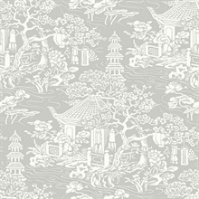 White & Silver Commercial Oriental Scenic Wallpaper