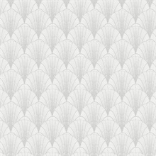 White & Silver Scalloped Pearls Wallpaper
