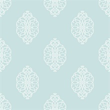 White & Sky Blue Commercial Ironwork Medallion Wallpaper