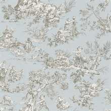 Whitney Light Blue Toile Wallpaper