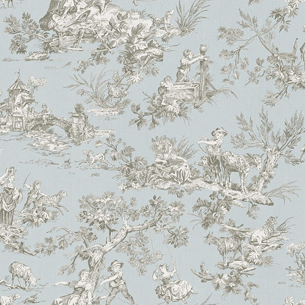 3112 002776 Whitney Light Blue Toile Wallpaper