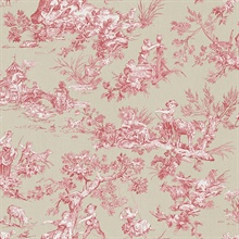 Whitney Red Toile Wallpaper