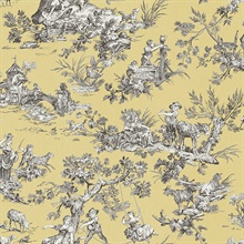 Whitney Yellow Toile Wallpaper