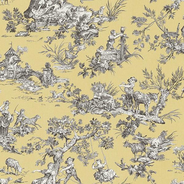 3112 002778 Whitney Yellow Toile Wallpaper Wallpaper