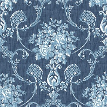 Winsome Blue Floral Damask Wallpaper
