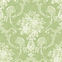Winsome Green Floral Damask Wallpaper