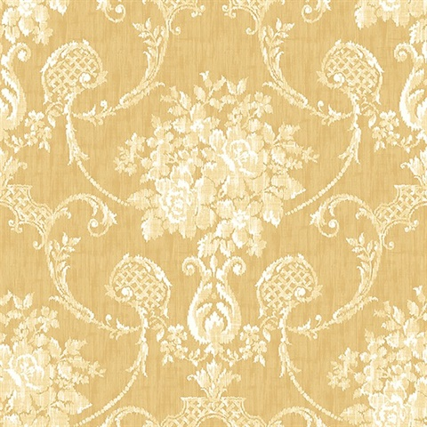 2702 22746 Winsome Mustard Floral Damask Wallpaper