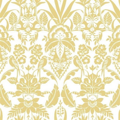 Yelloow Botanical Damask
