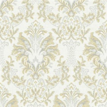 Yellow Bold Borcade Damask Wallpaper