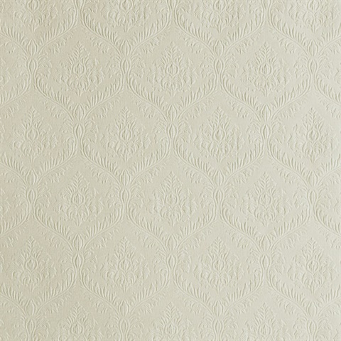 Yveline Beige Damask Ogee Wallpaper
