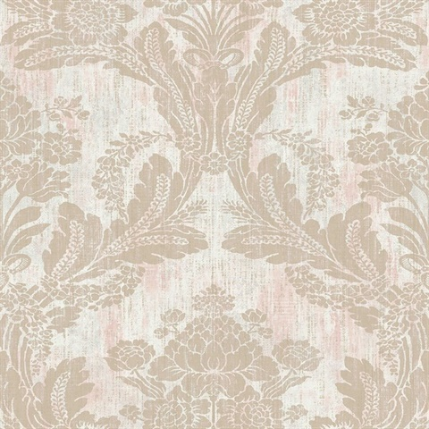 Zemi Light Pink Damask Wallpaper