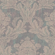 Zemi Teal Damask Wallpaper