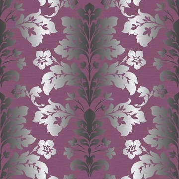 bold purple damask wallpaper