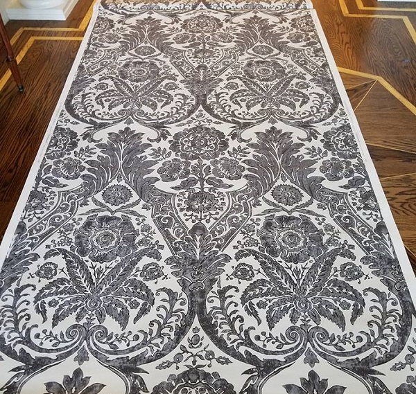 damask wallpaper black and white