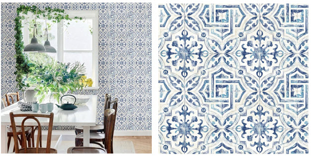 Patterned Faux Spanish Wallpaper