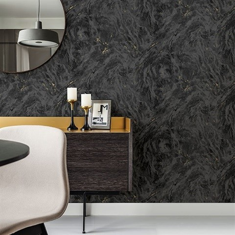 Black Faux Marble Texture Wallpaper