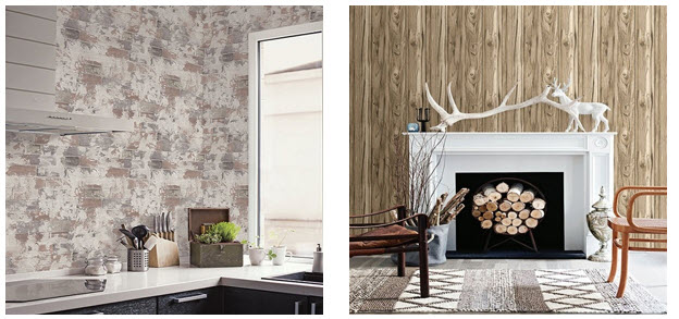 Faux Brick and Faux Wood Wallpaper