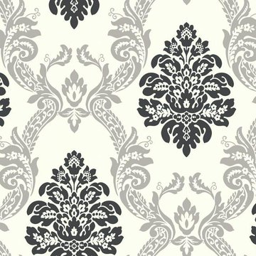 grey damask wallpaper